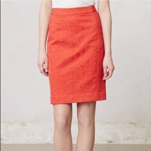 [Vanessa Virginia]Orange Rose Brocade Pencil Skirt